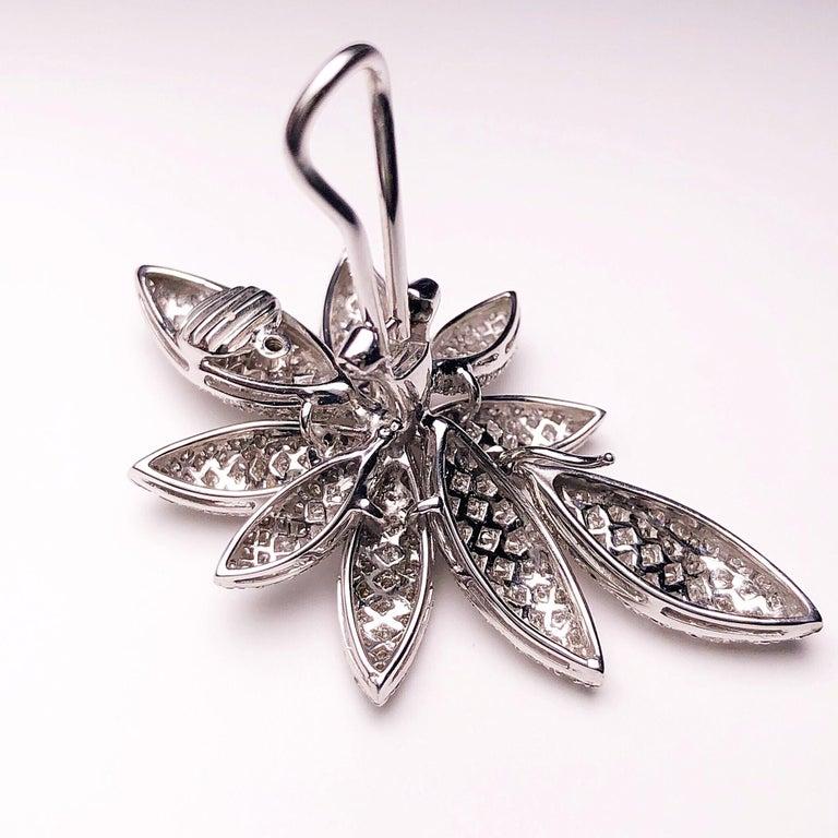 Round Cut Bernard Grosz 18 Karat White Gold and 6.81 Carat Diamond Flower Earclips For Sale
