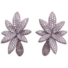 Bernard Grosz 18 Karat White Gold and 6.81 Carat Diamond Flower Earclips