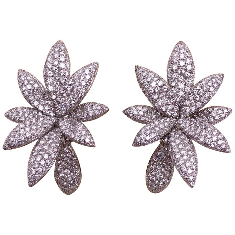 Bernard Grosz 18 Karat White Gold and 6.81 Carat Diamond Flower Earclips For Sale