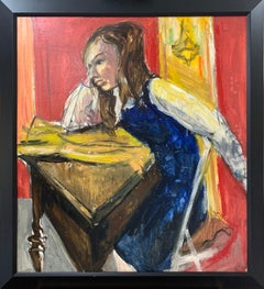 Girl at Desk, Color Portrait of Young Woman, African American Artist
