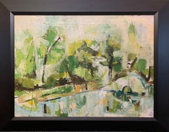 Green Landscape, Expressionist Art, Oil on Canvas, African American Art