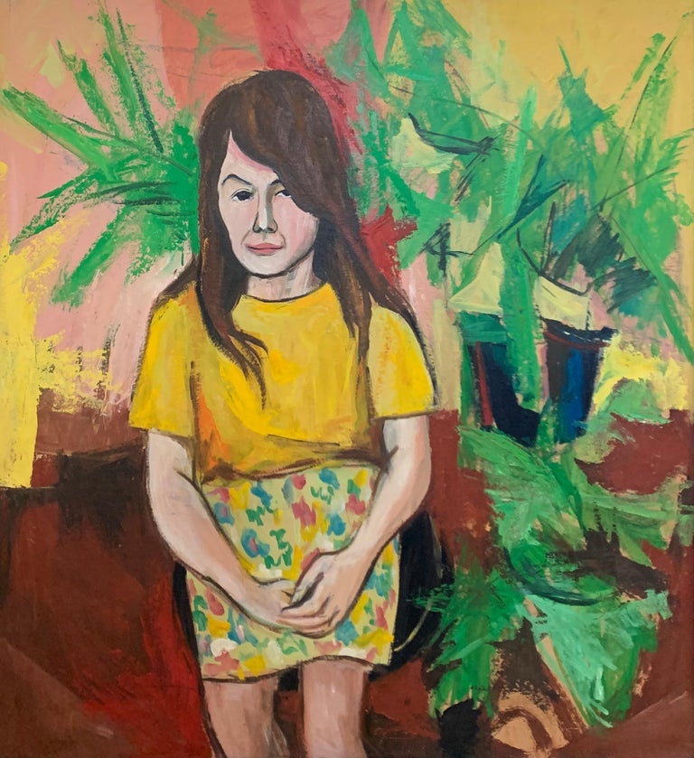 Pattern Skirt, Interior Portrait of a Woman with Plants, African American Art - Expressionist Painting by Bernard Harmon