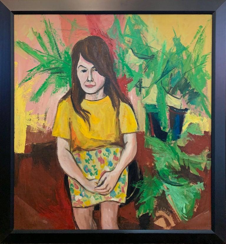 Bernard Harmon Portrait Painting - Pattern Skirt, Interior Portrait of a Woman with Plants, African American Art
