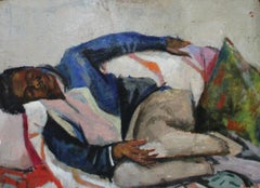 Resting, Interior Portrait of Young Man Resting on a Sofa , African American Art