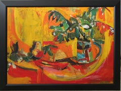 Still Life in Red, Orange, and Green with Plant and Fruit,  African American Art