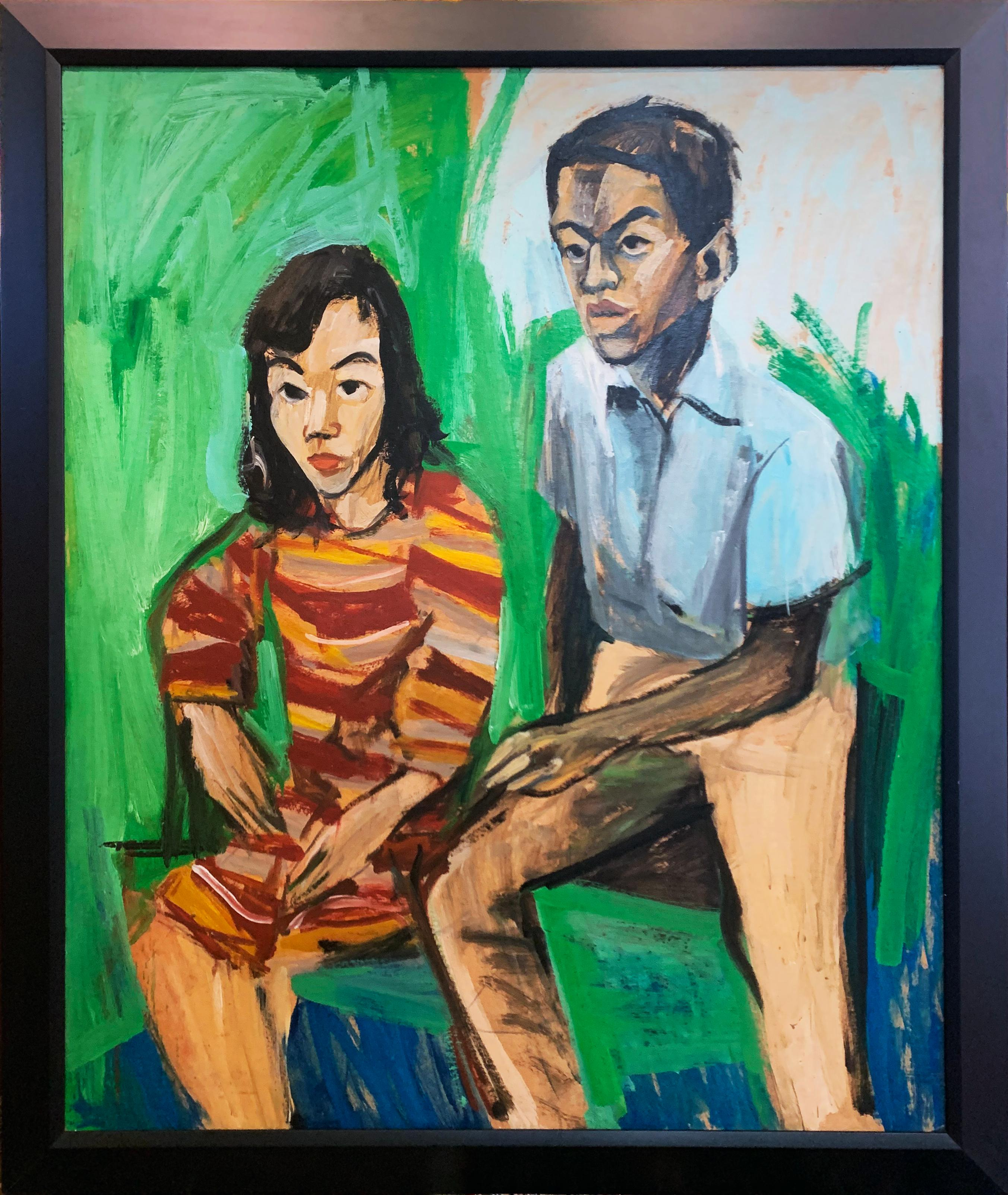 Striped Dress, Interior Portrait of Young Woman and Man , African American Art