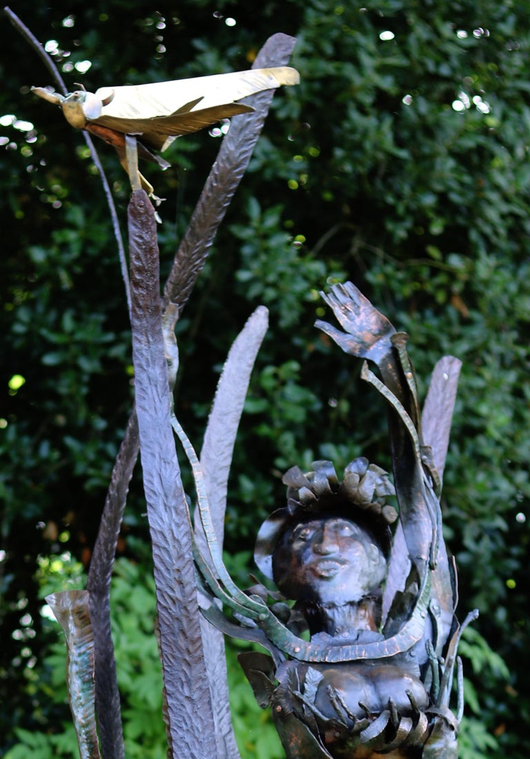 Jamaican Marlene, unique piece in copper and forged irons - Sculpture by Bernard Henneuse
