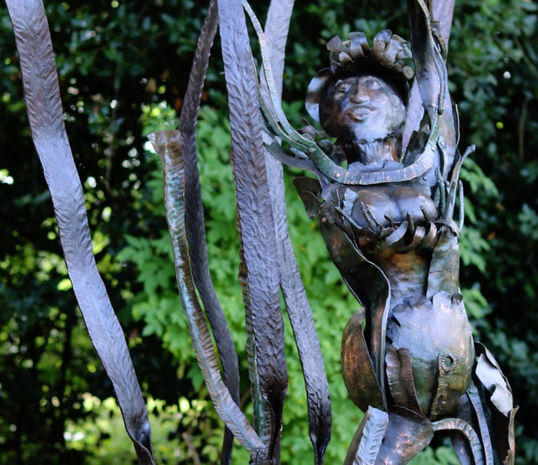 Jamaican Marlene, unique piece in copper and forged irons - Contemporary Sculpture by Bernard Henneuse