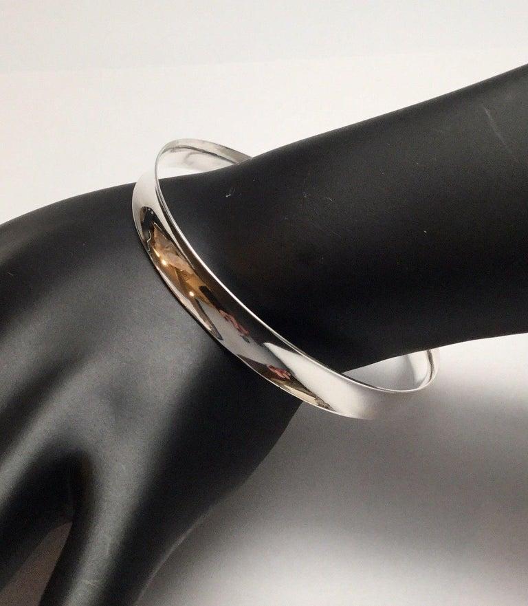 Women's Bernard Hertz Denmark Sterling Silver Concave Bangle Bracelet For Sale