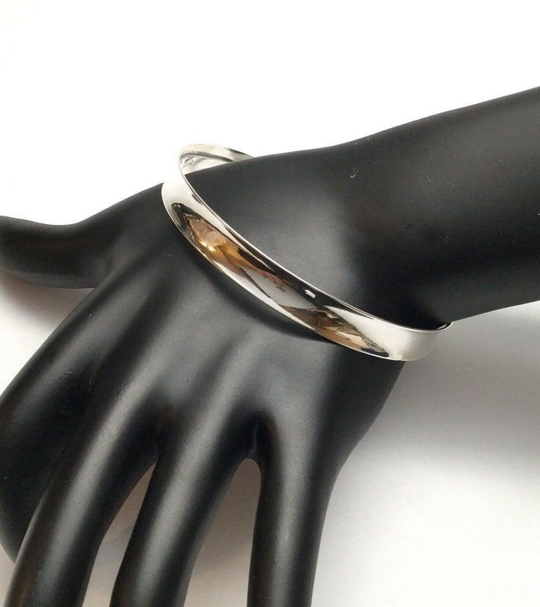 Bernard Hertz Denmark sterling silver concave bangle bracelet.  Marked: BH 925S Denmark  Measures: 8 1/2