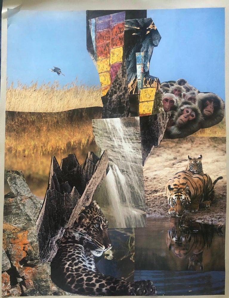 Bernard Herzog Landscape Painting - 20th Paris School Collage Cutout Artwork Wonderful Interior Design options!