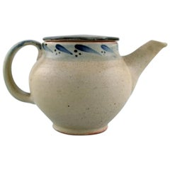 Bernard Howell Leach, Modernist Lidded Teapot in Glazed Stoneware