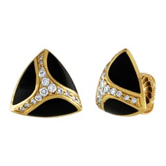 Bernard K. Passman Black Coral and Diamonds Gold Earrings