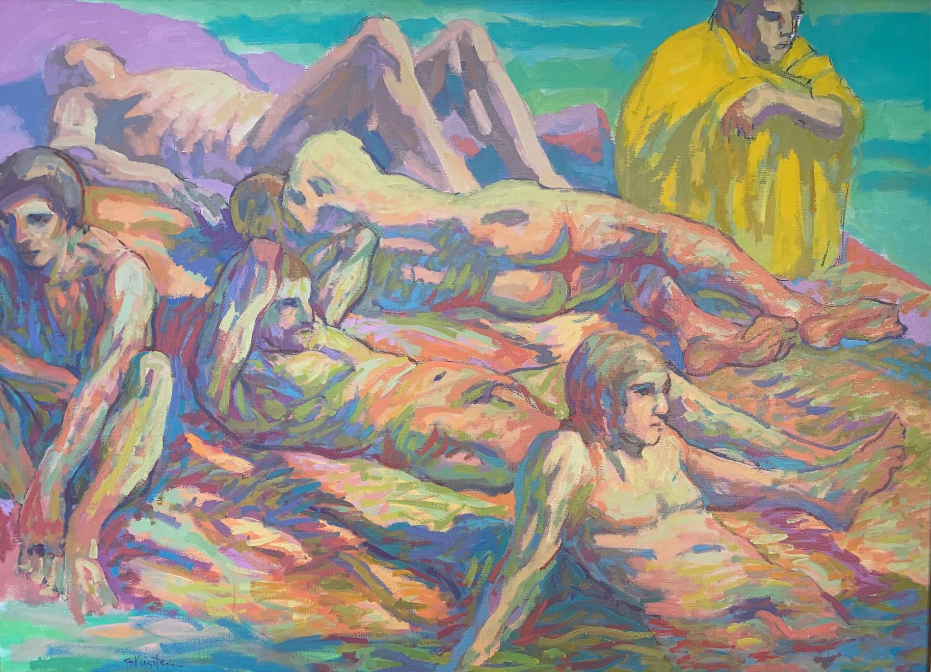 """Ausable River Bathers"" Oil On Canvas 55"" x 41"" Framed By Bernard Krigstein"