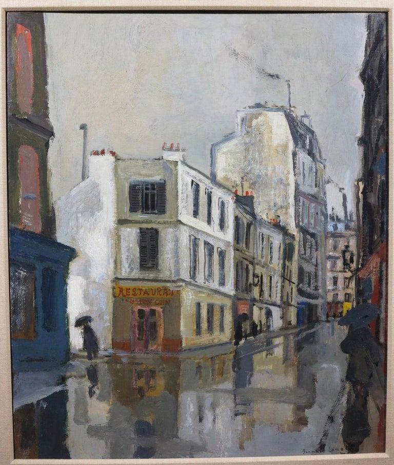 Rue Sous la Pluie a Paris (Restaurant Au Bon Coin) Street Scene - Painting by Bernard Lamotte