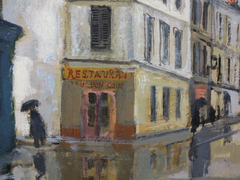 Rue Sous la Pluie a Paris (Restaurant Au Bon Coin) Street Scene - Impressionist Painting by Bernard Lamotte