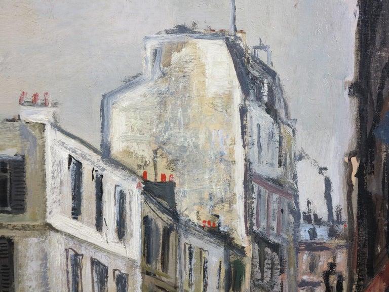 Rue Sous la Pluie a Paris (Restaurant Au Bon Coin) Street Scene - Gray Landscape Painting by Bernard Lamotte