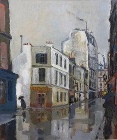 Rue Sous la Pluie a Paris (Restaurant Au Bon Coin) Street Scene