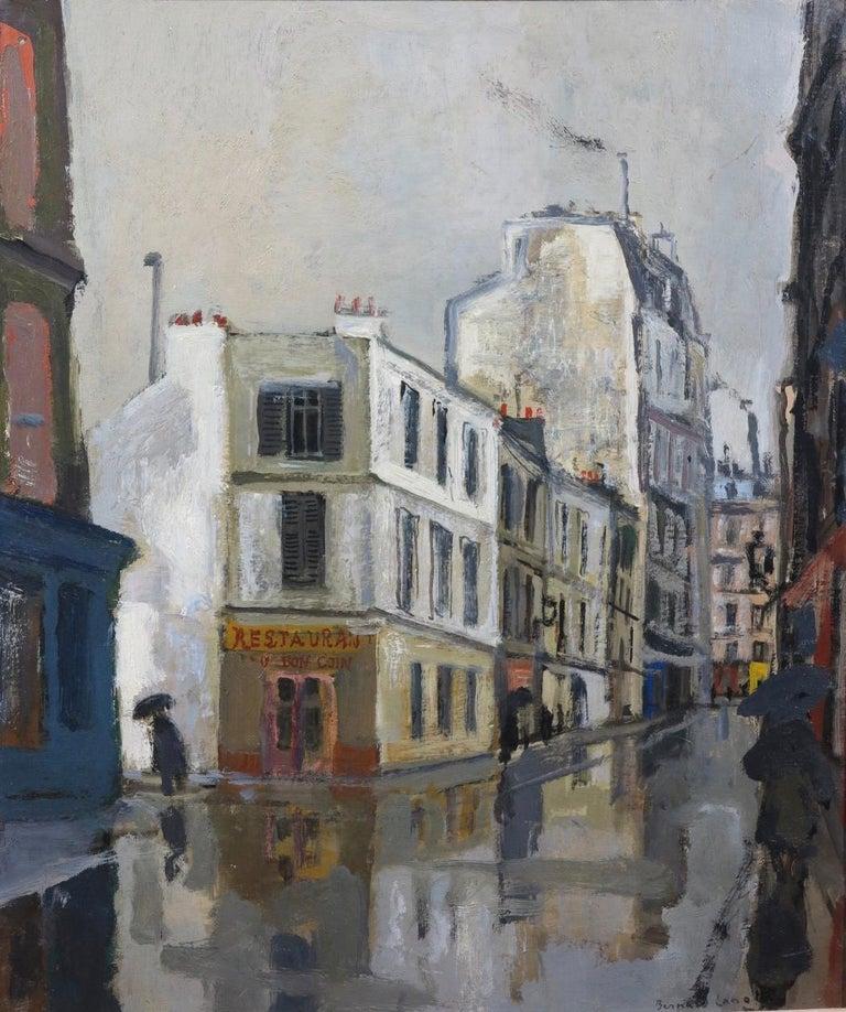 Bernard Lamotte Landscape Painting - Rue Sous la Pluie a Paris (Restaurant Au Bon Coin) Street Scene
