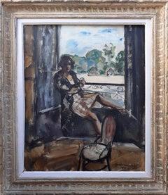 The Roaring Twenties Modern Girl: art deco oil painting woman on a windowsill