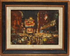 Ashcan School painting of Times Square at Night by Bernard Lennon
