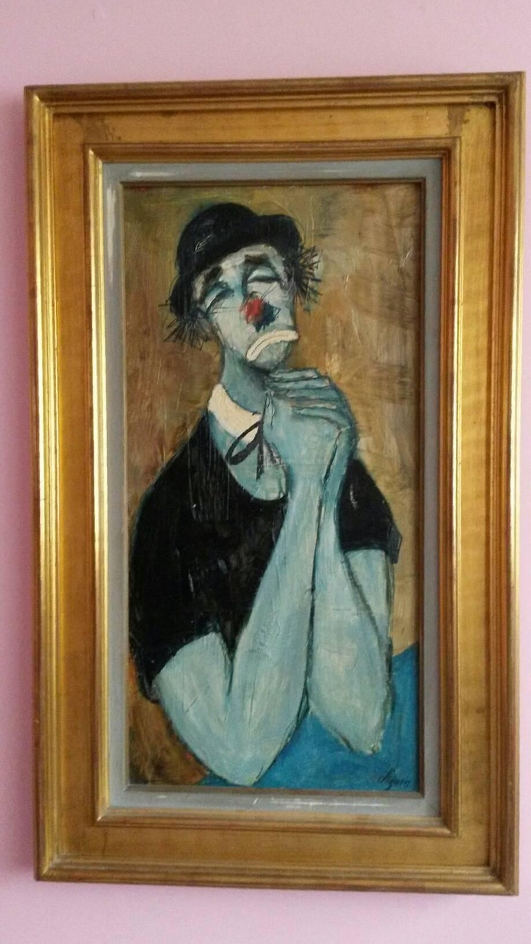 Beautiful expressionist style representation of a clown begging for forgiveness, by Bernard LIGNON (born in 1921)  The painting is in excellent condition, realised in the 60s and is accompanied by a beautiful gilted frame. It is signed at the lower