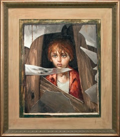 """Boy"" Original Realist Oil Painting on Canvas by Bernard Locca, Framed"