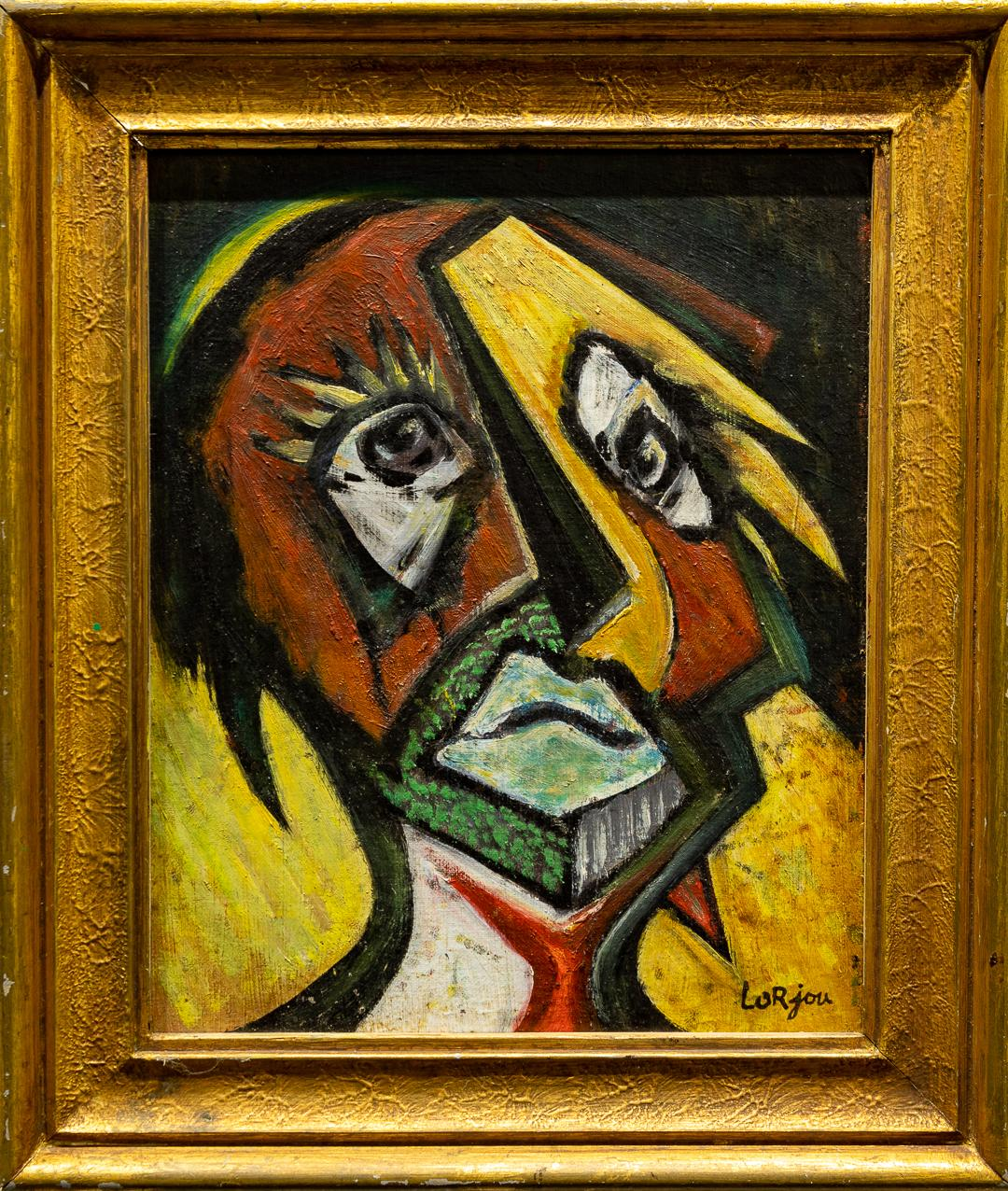 """""""Harlequin"""" Expressionist Cubist Oil Portrait on Canvas Board & Rich Colors"""