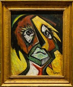 """Harlequin"" Expressionist Cubist Oil Portrait on Canvas Board & Rich Colors"