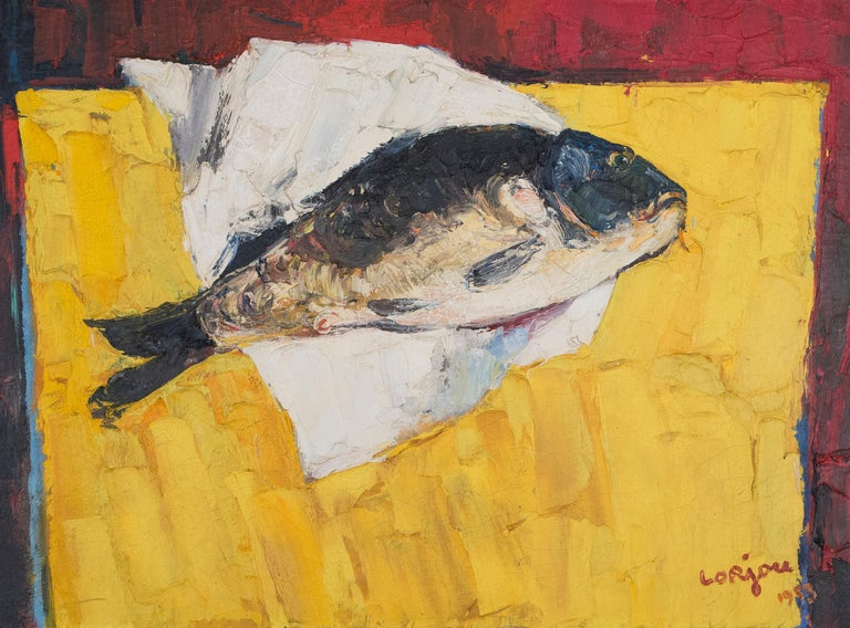 La Carpe, Fish on Table Still Life - Painting by Bernard Lorjou