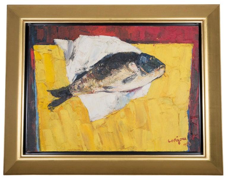 Bernard Lorjou Animal Painting - La Carpe, Fish on Table Still Life
