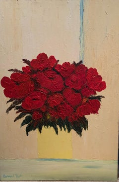 'Red Flowers on a cream background' oil on canvas by Payet