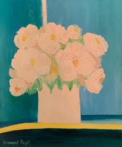 'White Flowers on a blue background' oil on canvas by Payet