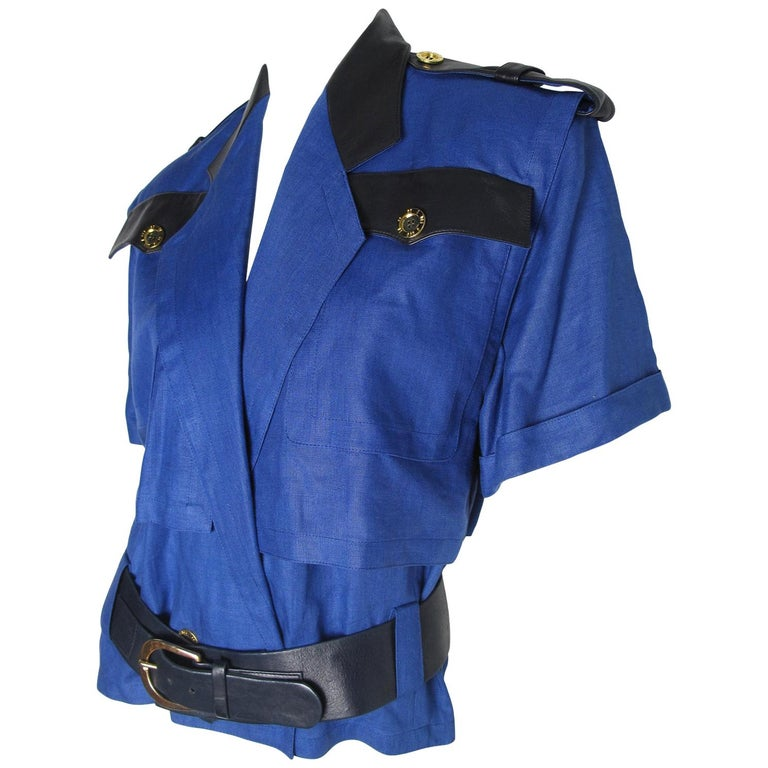 Bernard Perris Linen and Leather Police Top  For Sale