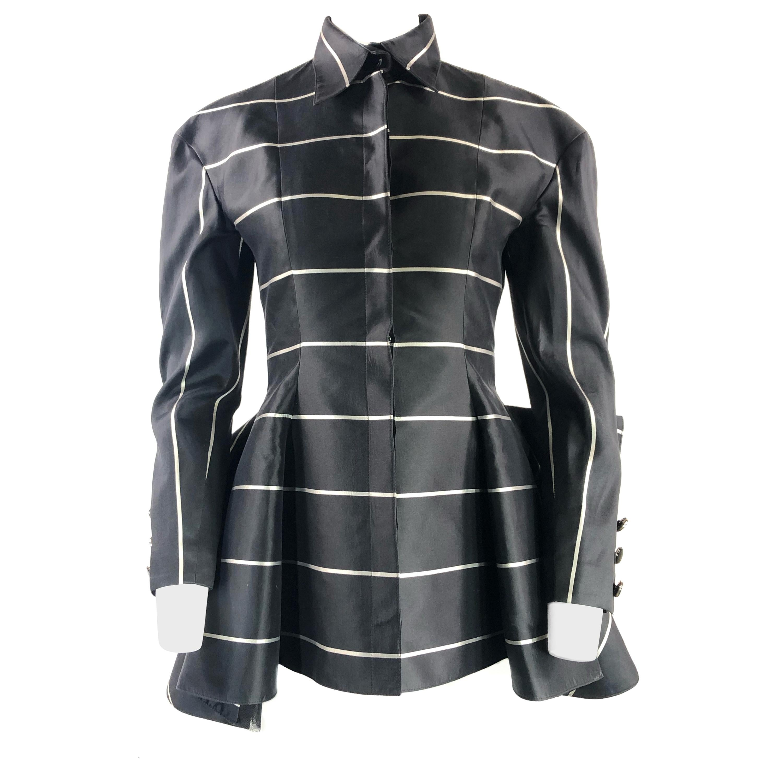 Bernard Perris Paris Black Tuxedo Jacket w/ Stripes and Flowers