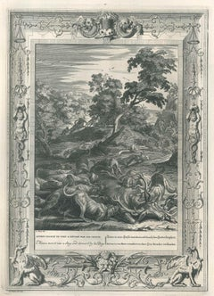 "Acteon, from ""Le Temple des Muses"" - Original Etching by B. Picart - 1742"