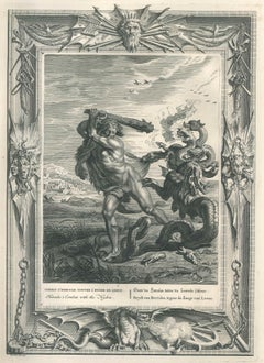 """Combat d'Hercule, from """"Temple des Muses"""" - Original Etching by B. Picart - 1742"""