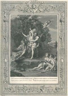 """Daphné et Apollon, from """"Temple des Muses"""" - Etching by B. Picart - 1742"""