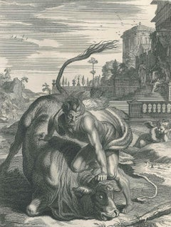 """Hercule et le Taureau, from """"Le Temple des Muses"""" by B. Picart"""