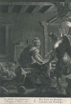 La Toile de Penelope - Original Etching by by B. Picart - 1742