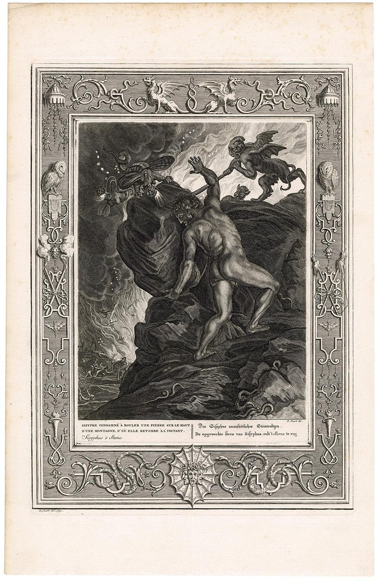 'Sisyphus Is Stone' from 'The Temple of the Muses' - Print by Bernard Picart
