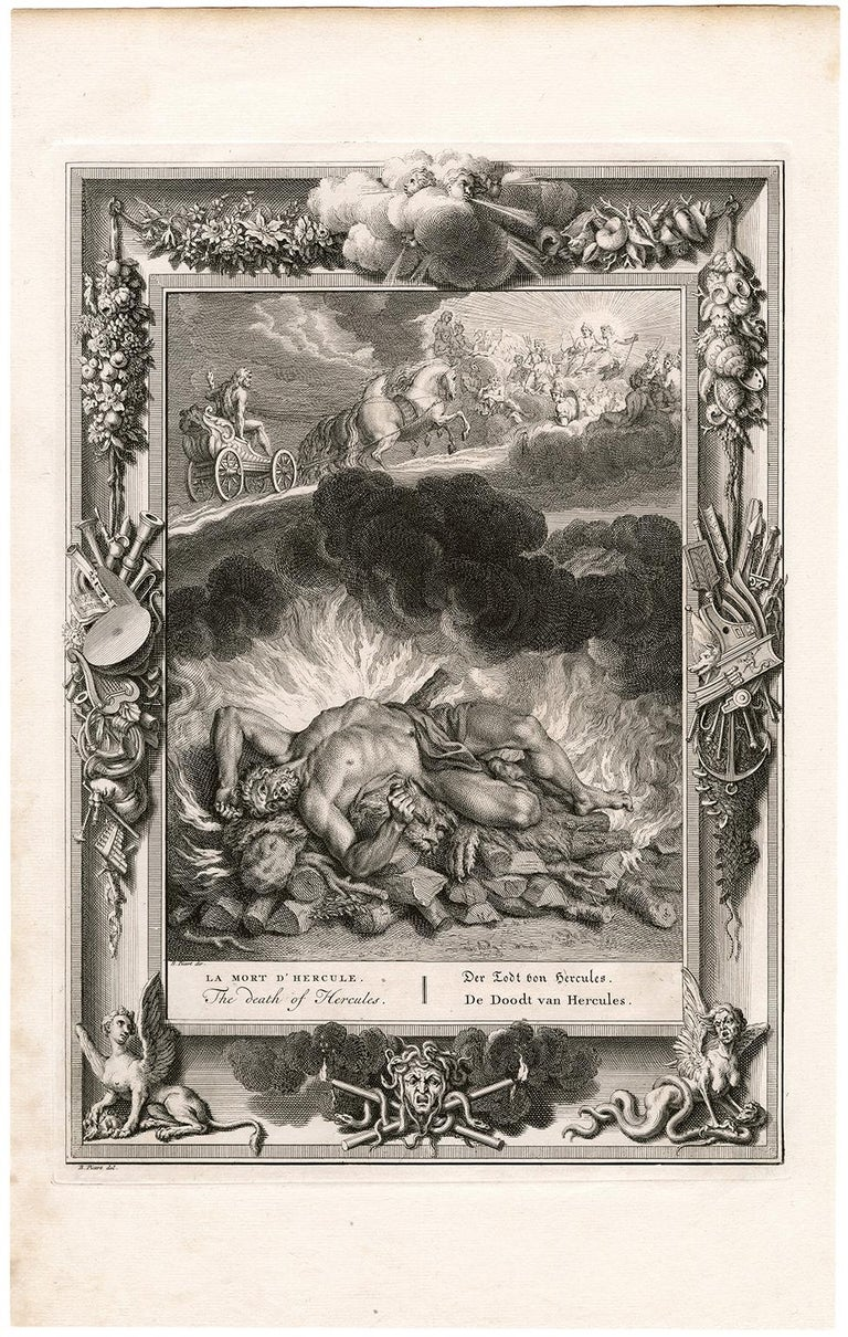 'The Death of Hercules' from 'The Temple of the Muses' - Print by Bernard Picart