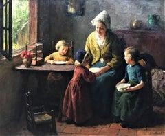 """Mother and Children"", Dutch interior family scene, oil on canvas, circa 1930"