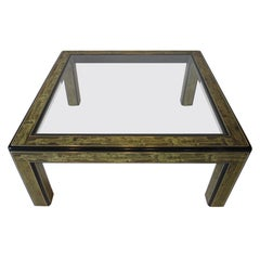 Bernard Rohne Etched Coffee Table by Mastercraft