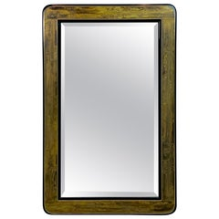 Bernard Rohne for Mastercraft Acid Washed Bronze and Black Lacquered Wood Mirror