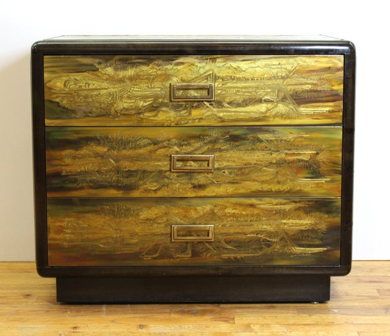 Mid-Century Modern acid etched chest of drawers made by Bernard Rohne for Mastercraft in the 1970's. The piece has three drawers and brass hardware. In great vintage condition with age-appropriate wear.