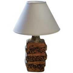 Bernard Rooke Brutalist Studio Pottery Table Lamp, circa Mid-1960s