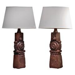 Bernard Rooke Pair of Ceramic Table Lamps, 1970s