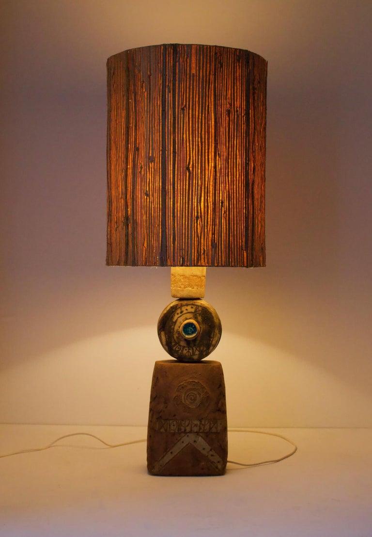 Bernard Rooke Studio Ceramic TOTEM Lamp with Original Shade, England, 1960s 5
