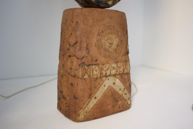 Mid-Century Modern Bernard Rooke Studio Ceramic TOTEM Lamp with Original Shade, England, 1960s